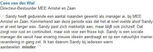 Aanbeveling MEE Amstel en Zaan interim manager management